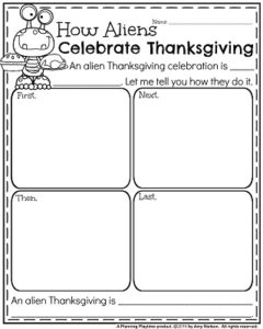 Informative Writing Prompts for November - How Aliens Celebrate Thanksgiving.