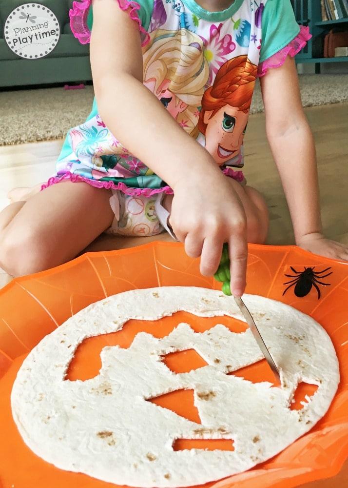 Geometric Jack-o-lanterns math activity for kids.