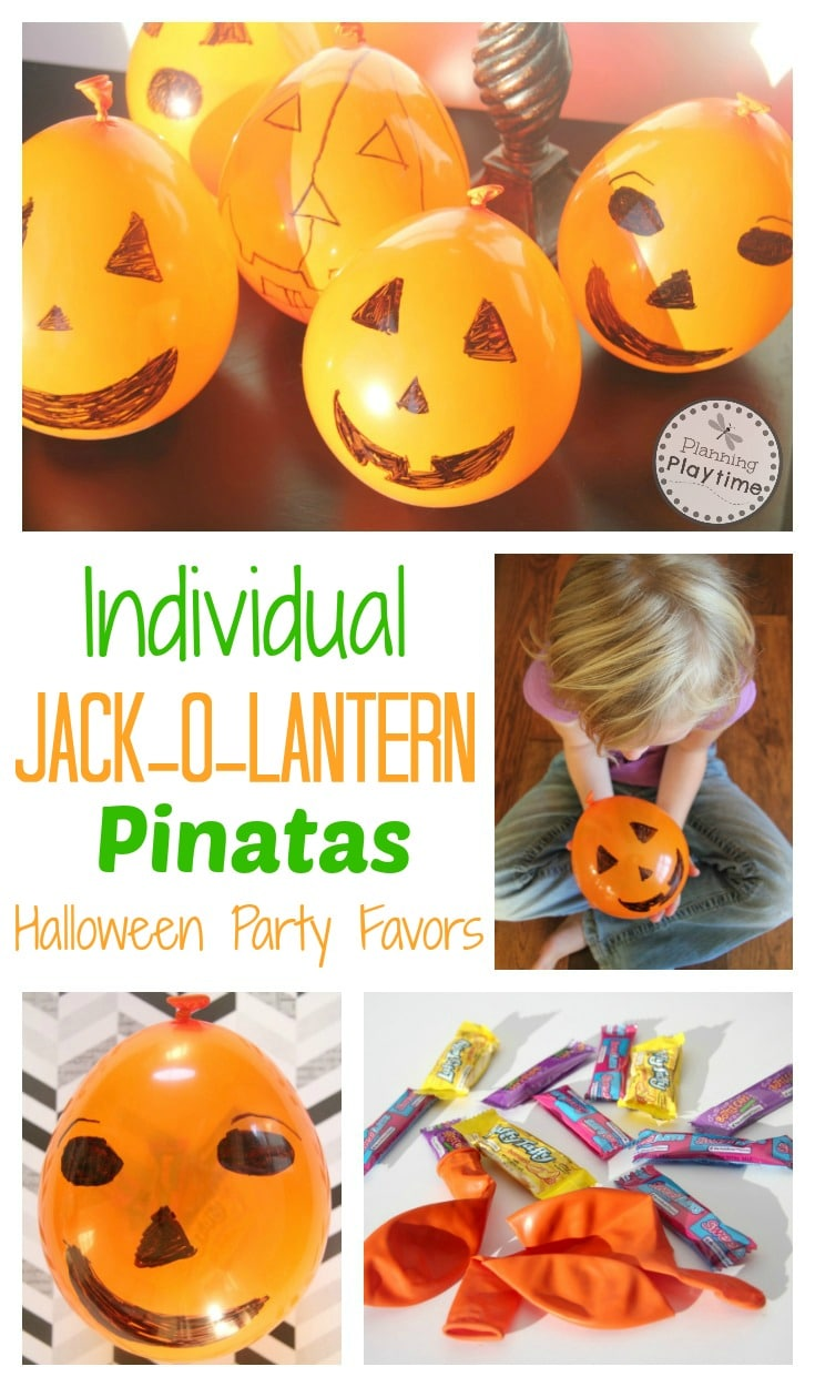 Individual Jack-o-Lantern Pinatas for Halloween. So fun and easy to make.