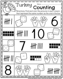 Kindergarten Math Worksheets for November - Turkey Counting and Subitizing.
