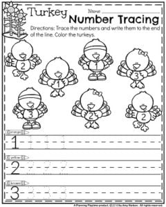 November Preschool Worksheets - Turkey Number Tracing.