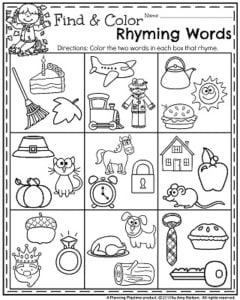 Rhyming Words Coloring Activities by Smarter Together | TpT | 300x240