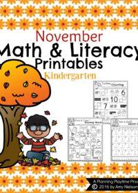 Fall Kindergarten Worksheets for November.