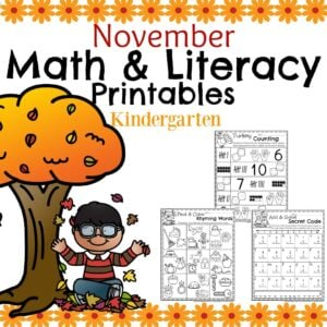 Fall Kindergarten Worksheets for November.