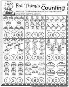 November Kindergarten Worksheets - Fall Things Counting.