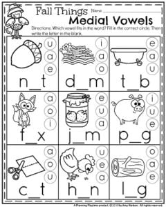 November Kindergarten Worksheets - Fall Things Medial Vowels.