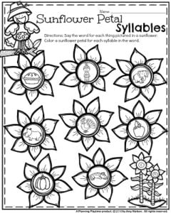 November Kindergarten Worksheets - Sunflower Petal Syllables.