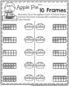 November Kindergarten Worksheets for Thanksgiving - Apple Pie 10 Frames.