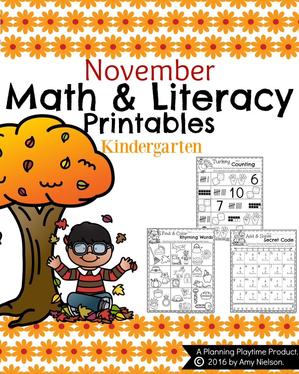 November Kindergarten Worksheets Planning Playtime