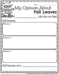 November Opinion Writing Prompt - My Opinion About Fall Leaves.