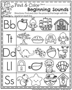 November Preschool Worksheets - Find and Color Beginning Sounds.