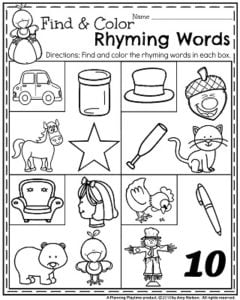 November Preschool Worksheets - Find and Color Rhyming Words.