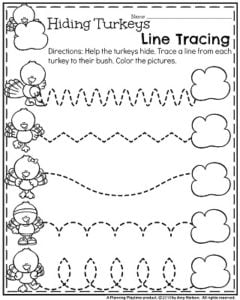 November Preschool Worksheets   Hiding Turkeys Line Tracing.