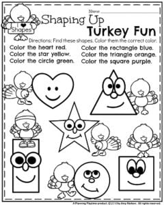 November Preschool Worksheets - Turkey Shapes.