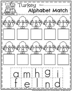 November Preschool Worksheets - Upper and Lowercase Alphabet Match.