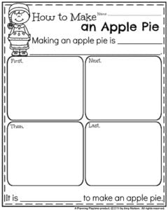 November Writing Prompts Worksheet - How to Make an Apple Pie.