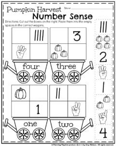 October Preschool Counting Worksheets - cut and paste.