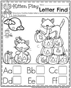 October Preschool Worksheets - Alphabet letter find and count.