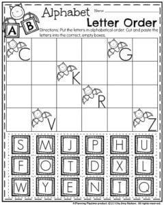 October Preschool Worksheets - Alphabet letter order and recognition.
