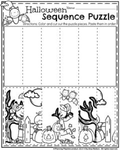 Preschool worksheets halloween sequence puzzle cut and paste