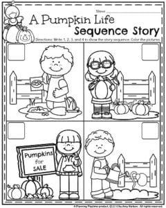 October Preschool Worksheets - Life of a Pumpkin Story sequence activity.