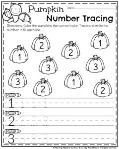 October Preschool Worksheets - Pumpkin Number Tracing.