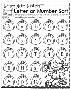 October Preschool Worksheets - Pumpkin Number or Letter Sort.