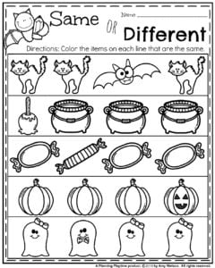 October Preschool Worksheets - Same or Different.