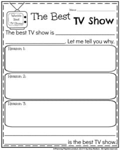 Opinion Writing Prompts for November - The Best TV Shows.