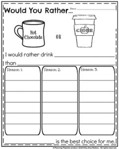Opinion Writing Prompts for November - Would you rather hot chocolate or apple cider.