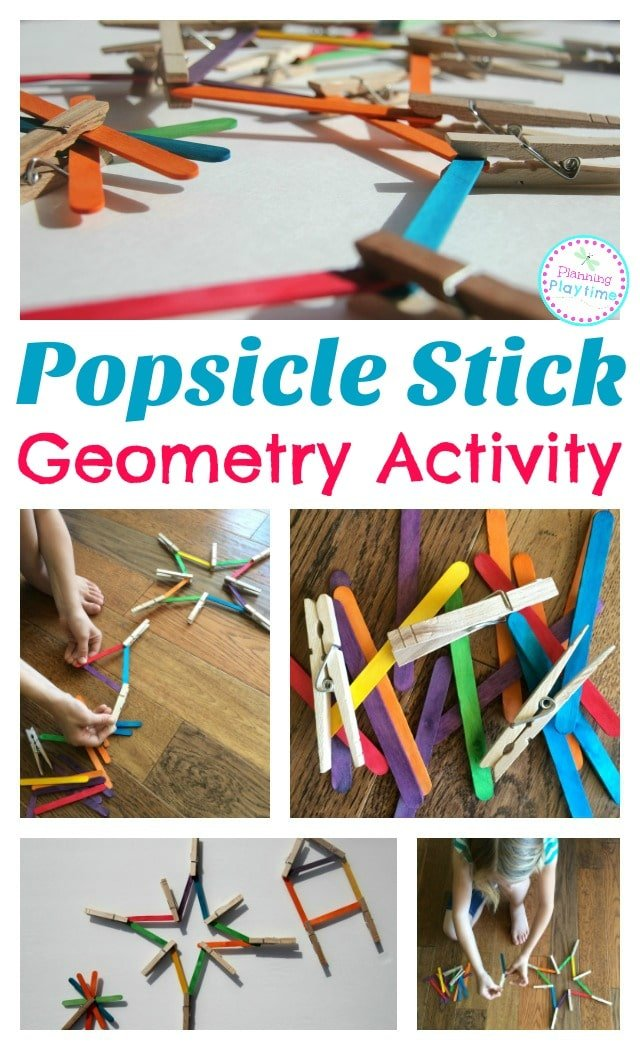 STEAM Popsicle Stick Geometry Activity for kids.