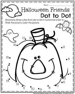 FREE Preschool Halloween worksheets for October - Halloween Friends dot to dot.