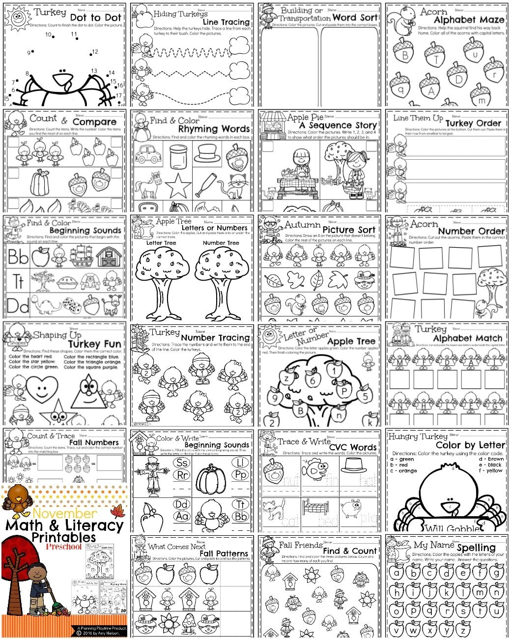 Fall Preschool Worksheets for November including a FREE printable.