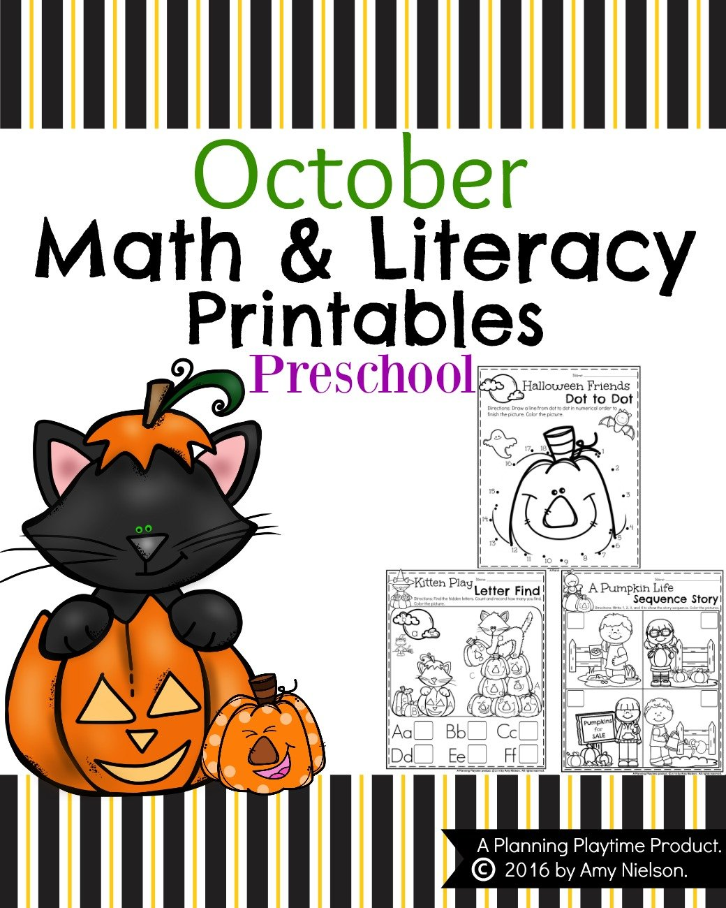 October Preschool Worksheets - Counting, Alphabet and Number recognition, and lots of other fun activities.