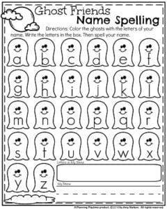Preschool Name worksheets for October - ghost friends name spelling.