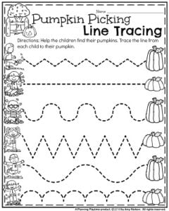 Preschool Worksheets for October - Pumpkin Picking Line Tracing.