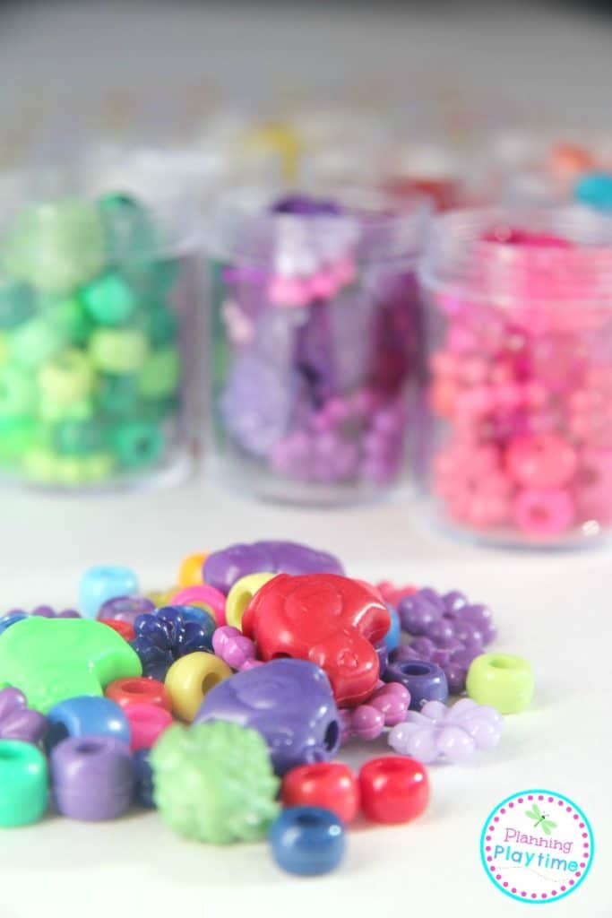 Random Beads Color Sorting Activity and lots of other fun activity ideas with a pack of random beads.