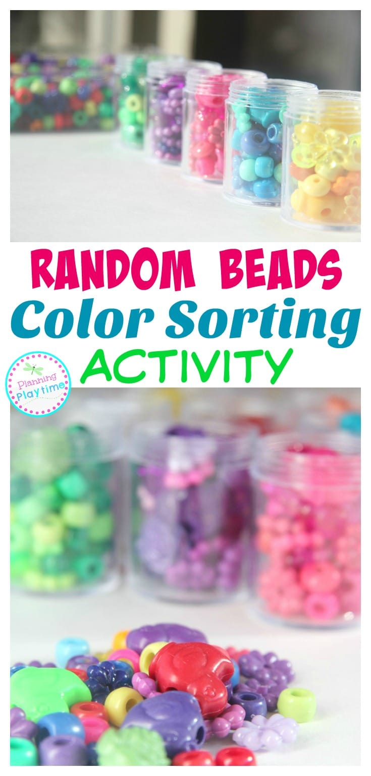 Random Beads Color Sorting Activity for kids. So fun!