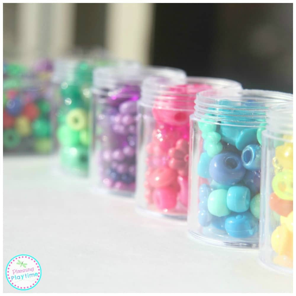 Random Beads Color Sorting Activity for kids.