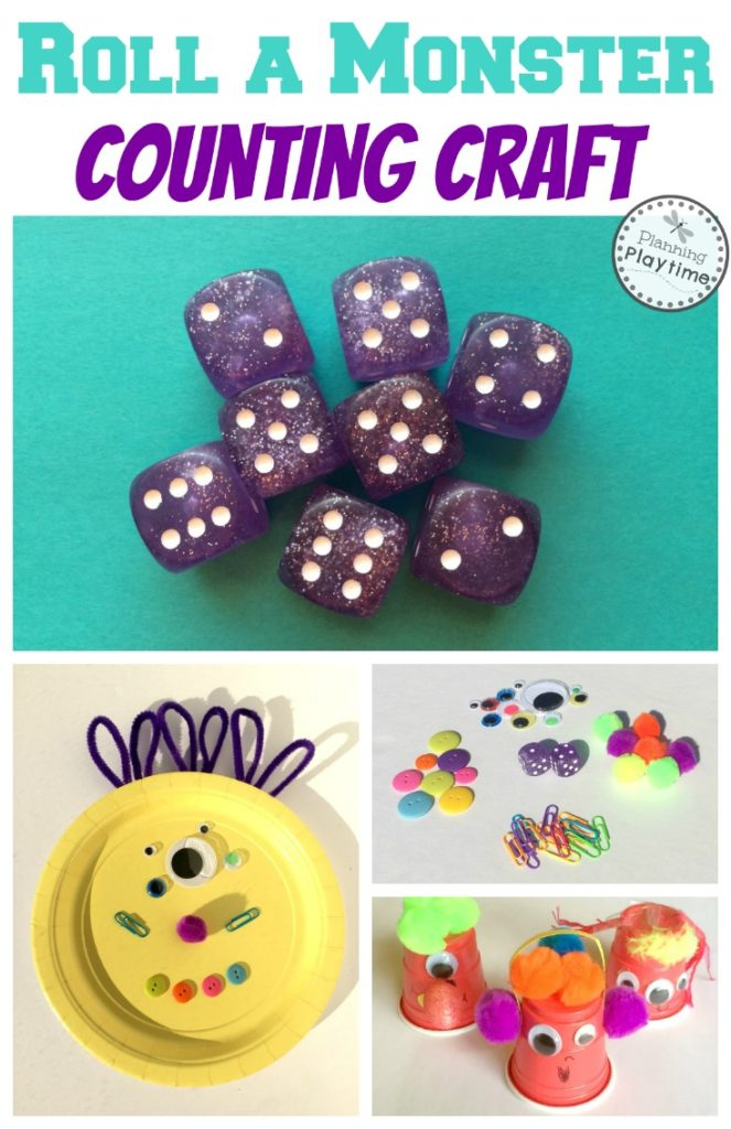 Roll a Monster Counting Craft - Roll to see how many of each item to put on your monster.