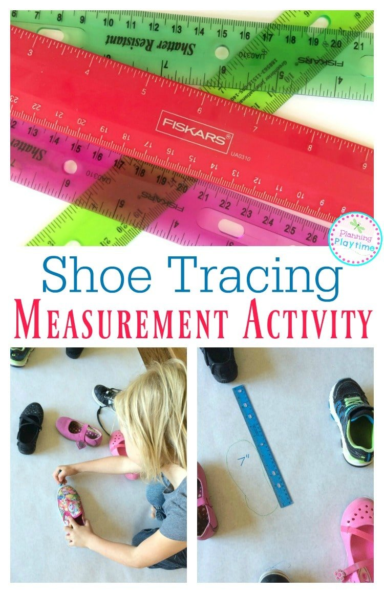 Shoe Tracing Measurement Activity for First Grade Math.