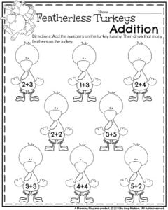 Thanksgiving Kindergarten Worksheets - Turkey Feathers add and draw.