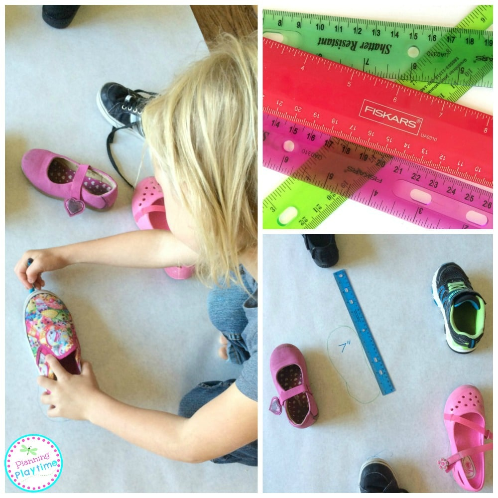 Tracing Shoes Measurement Activity for kids.