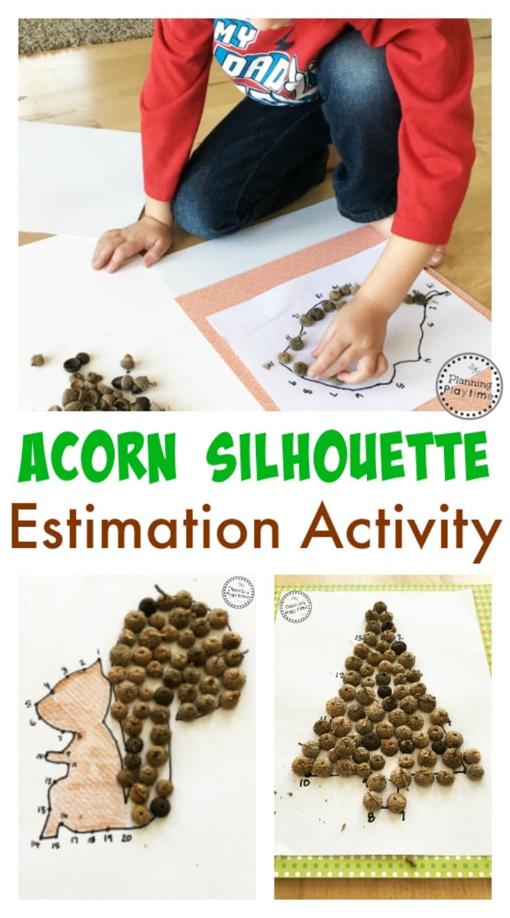 Acorn Silhouette Estimation Activity and Craft for kids.
