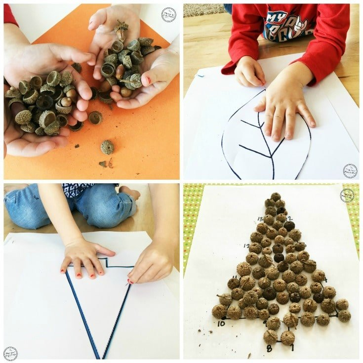 Acorn Silhouette Estimation Activity - fun math activity and craft for kids.
