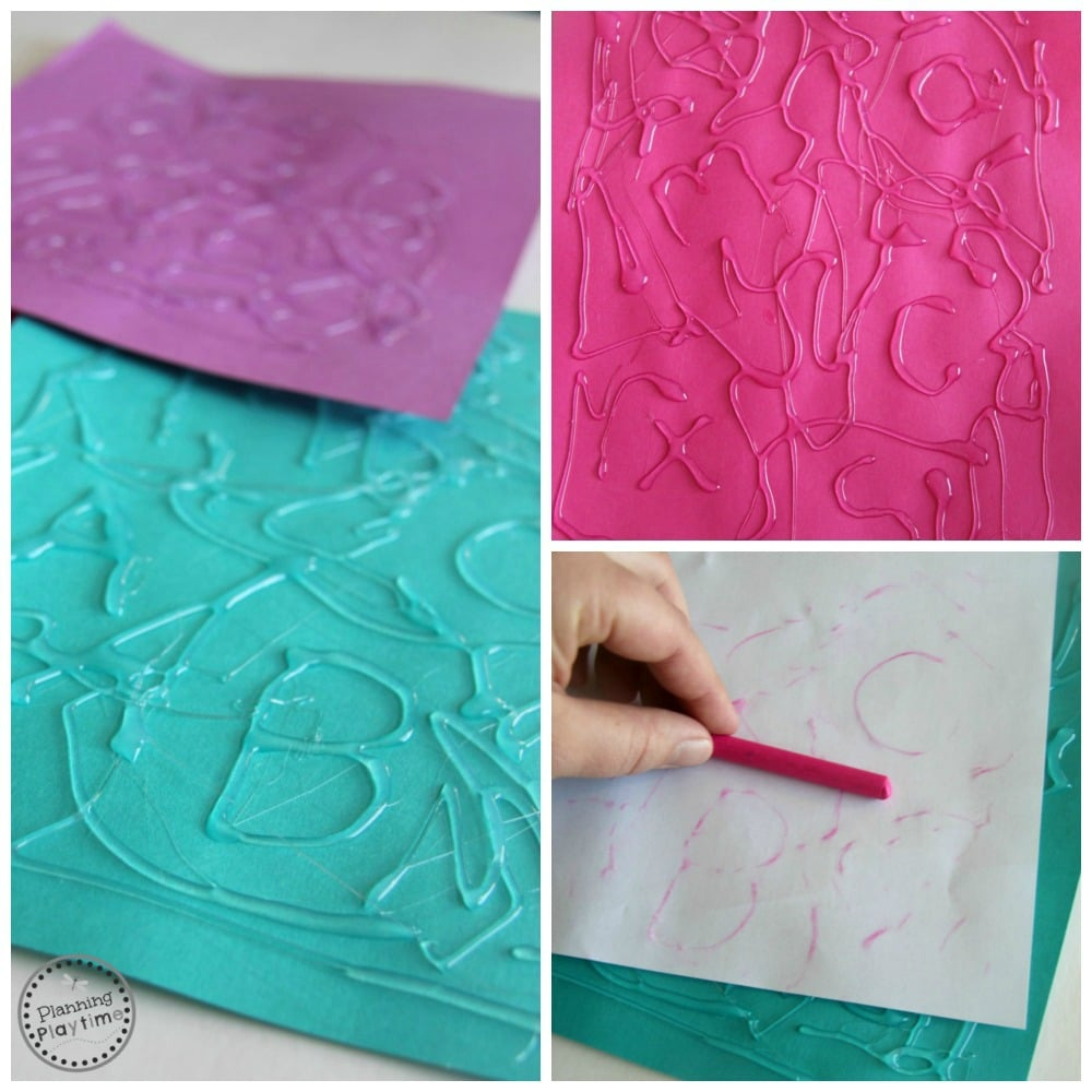 Awesome Hot Glue Letter Find Crayon Rub Activity - Hide the hot glue letters in swirls. Do a crayon rub over the top to find them.