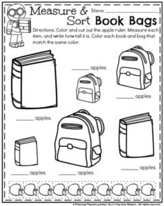 Back to School First Grade Worksheets - Book Bag Measurement Comparison.