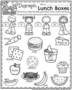 Back to School First Grade Worksheets - Digraph Lunch Box Packing.