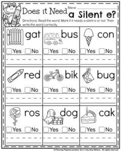 Back to School First Grade Worksheets - Does it Need a Silent e?