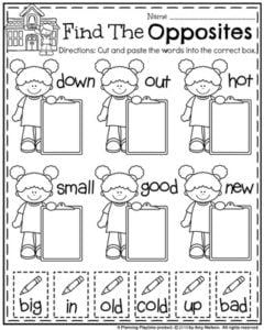 Back to School First Grade Worksheets - Find the Opposites Worksheet.